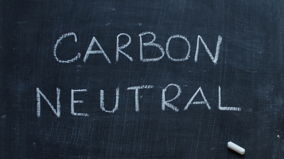 """Chalkboard text reading """"Carbon Neutral"""""""